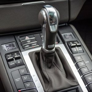 Agate grey console with aluminum gear shift