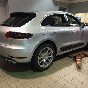 2015 Rhodium Silver Macan S rear view, taken at dealer inspection on Feb 17, 2015